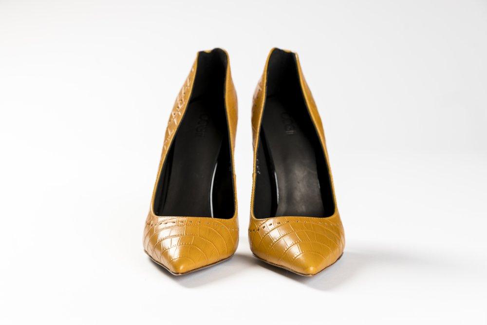 Yellow Calfskin Heels - 12cm