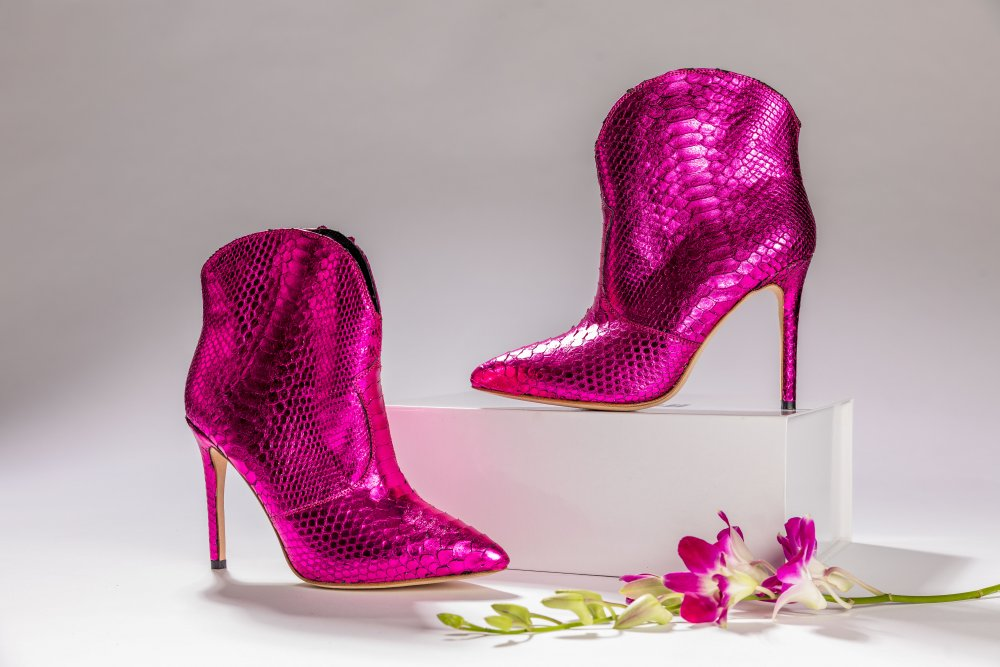 PINK SNAKESKIN ANKLE BOOTS