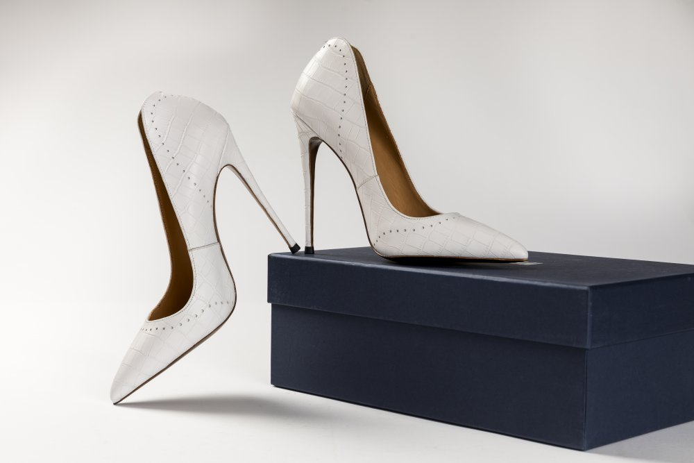 White Calfskin Heels - 12cm