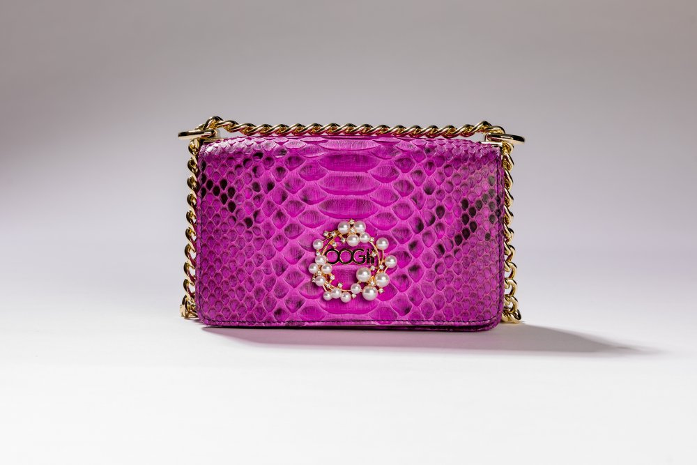 PURPLE SNAKESKIN HANDBAG