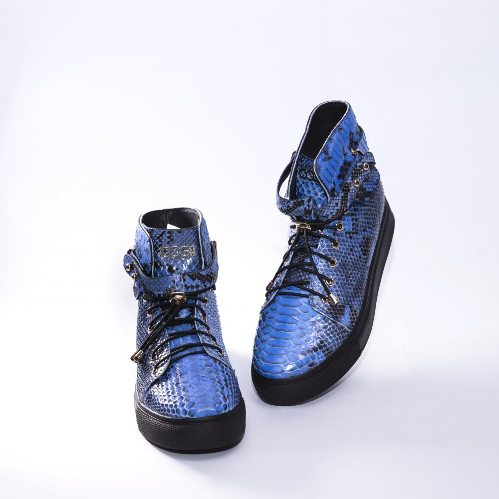 BLUE SNAKESKIN SNEAKERS
