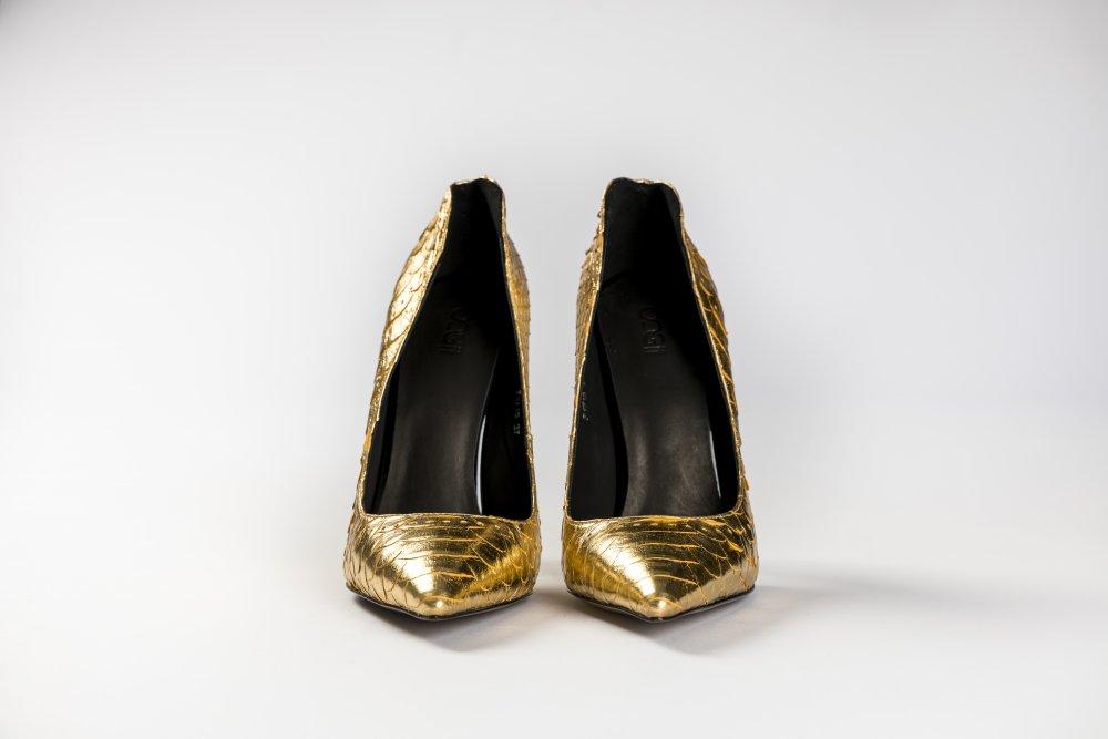 Gold Snakeskin Heels - 12cm