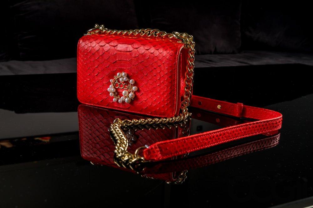 RED SNAKESKIN BAG