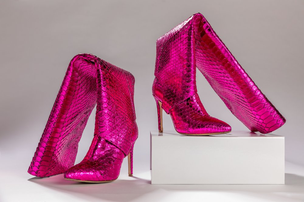 PINK SNAKESKIN BOOTS