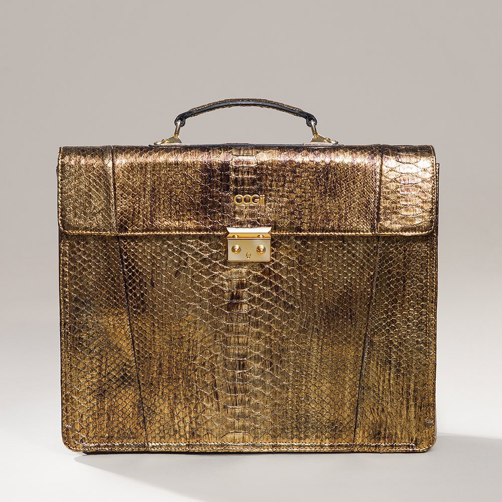 GOLD PYTHON BUSINESS BAG